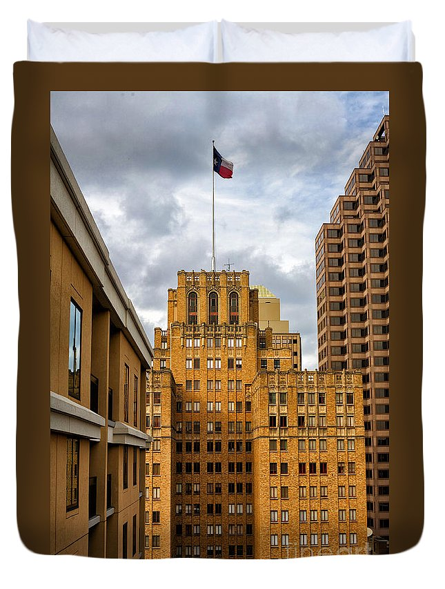 Buildings Duvet Cover featuring the photograph Texas Proud by Erika Weber
