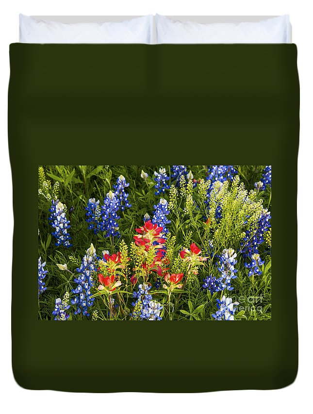 Texas Spring Springtime Wildflower Wildflowers Flower Flowers Plant Plants Bluebonnet Bluebonnets Indian Paintbrush Nature Still Life Nature Spring Duvet Cover featuring the photograph Texas Spring by Bob Phillips