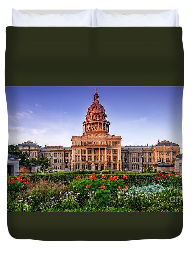 Texas State Capitol Duvet Cover featuring the photograph Texas State Capitol Summer Morning - Austin Texas by Silvio Ligutti