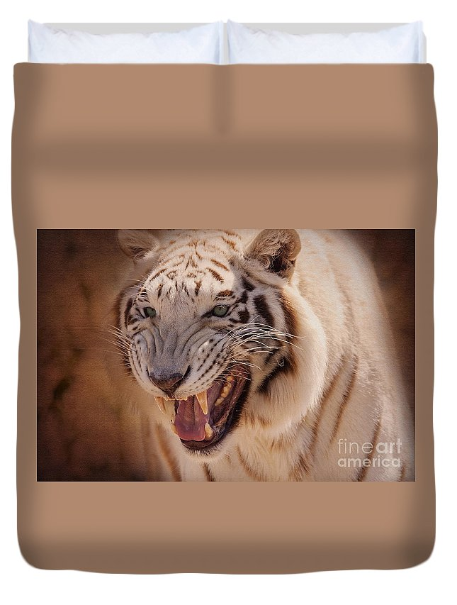 Animal Duvet Cover featuring the photograph Textured Tiger by Janice Pariza