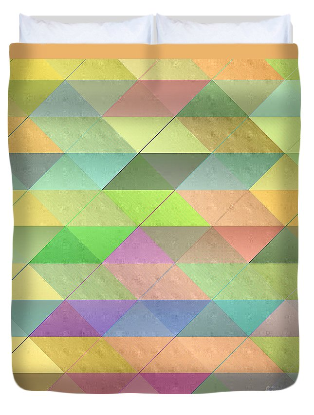 Pattern Duvet Cover featuring the digital art Textured Triangles Pattern by Gaspar Avila