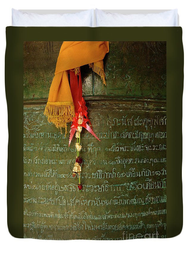 Photo Duvet Cover featuring the photograph Thai Bell by Bob Christopher