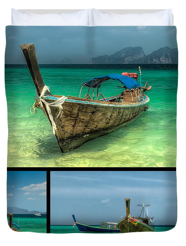 Hdr Duvet Cover featuring the photograph Thailand Longboats by Adrian Evans