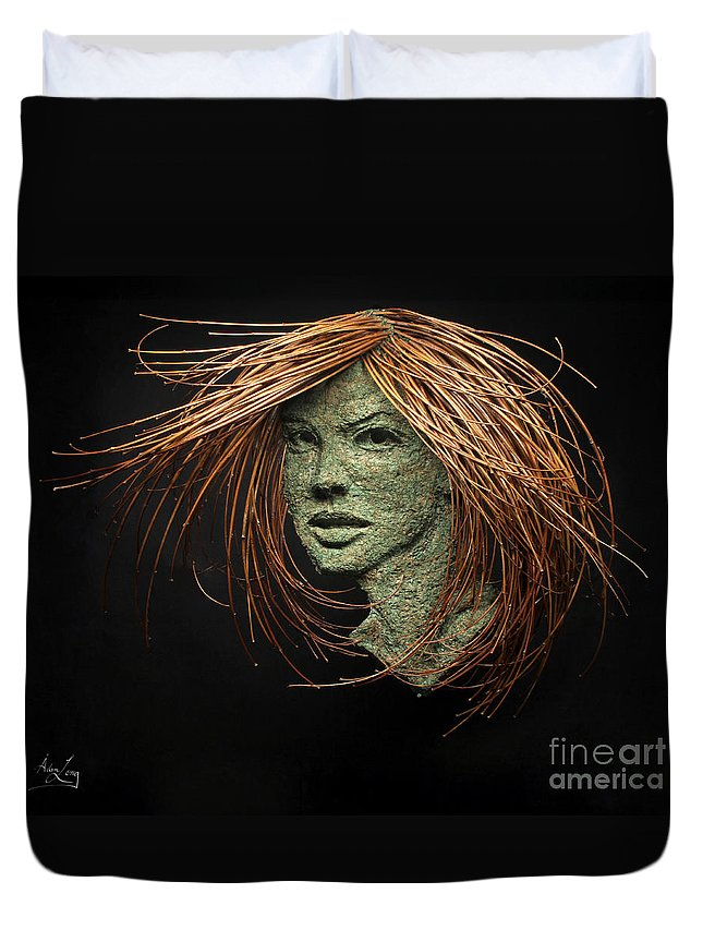 Art Duvet Cover featuring the mixed media Thalia Of The Three Graces by Adam Long