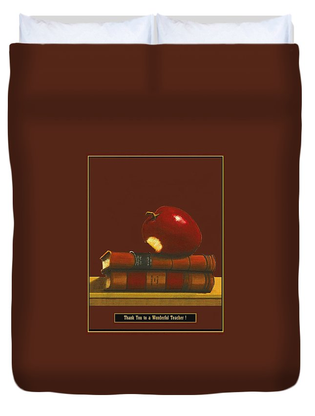 Fineartamerica.com Duvet Cover featuring the painting Thank You To A Wonderful Teacher # 1 2 by Diane Strain