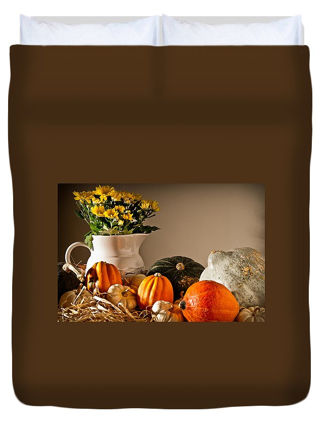 Thanksgiving Duvet Cover featuring the photograph Thanksgiving Still Life by Onyonet Photo Studios