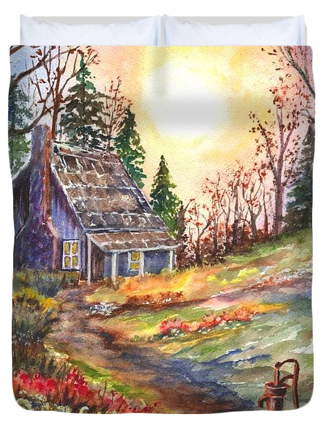 Hand Painted Watercolor Duvet Cover featuring the painting That Old Cabin In The Woods by Carol Wisniewski