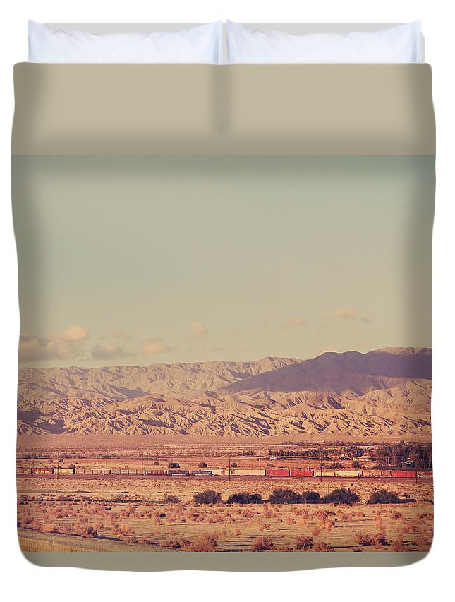 Trains Duvet Cover featuring the photograph That Side Of The Tracks by Laurie Search