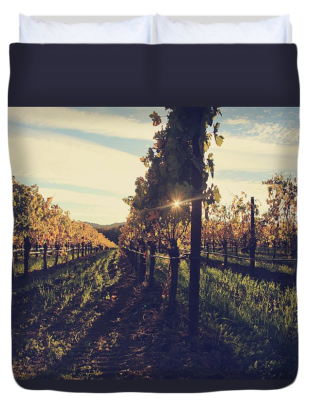 Chateau Montelena Duvet Cover featuring the photograph That Special Glow by Laurie Search