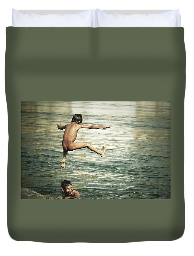 Boys Duvet Cover featuring the photograph That Was A Great Day by Valerie Rosen