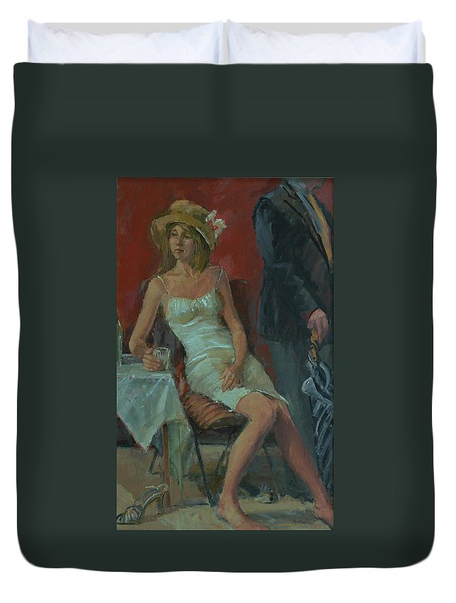 Female Duvet Cover featuring the photograph That Was A Lovely Lunch, 2008 Oil On Canvas by Pat Maclaurin