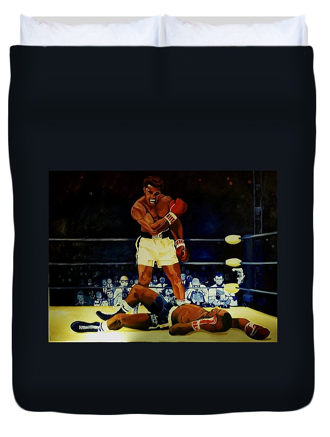 Iconic Athelete Muhammad Ali Vs. Sonny Liston Duvet Cover featuring the painting The 2nd Fight by Charis Kelley