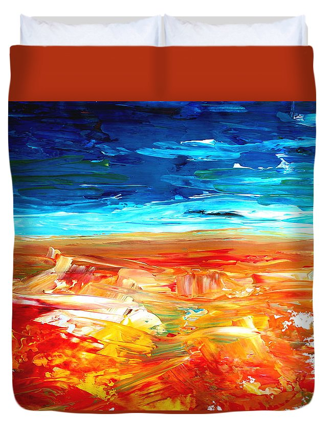Abstract Art Duvet Cover featuring the painting The Abstract Rainbow Beach Series II by M Bleichner