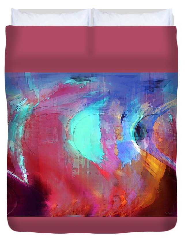 Abstract Duvet Cover featuring the digital art The Afterglow by Linda Sannuti