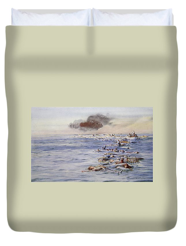 Ocean Liner Duvet Cover featuring the drawing The Aftermath Of The Lusitania by William Lionel Wyllie