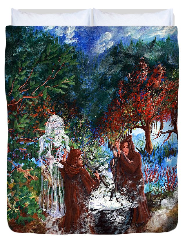 Spiritual Duvet Cover featuring the painting The Alchemists by Joyce Jackson