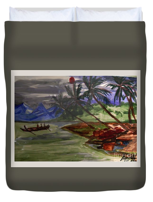 Landscape Duvet Cover featuring the painting The Amazon by Ayyappa Das