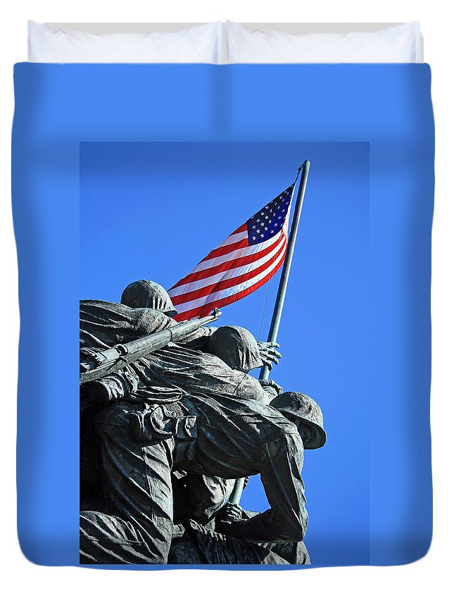 Iwo Duvet Cover featuring the photograph The American Flag Atop Mount Suribachi -- The Iwo Jima Memorial by Cora Wandel