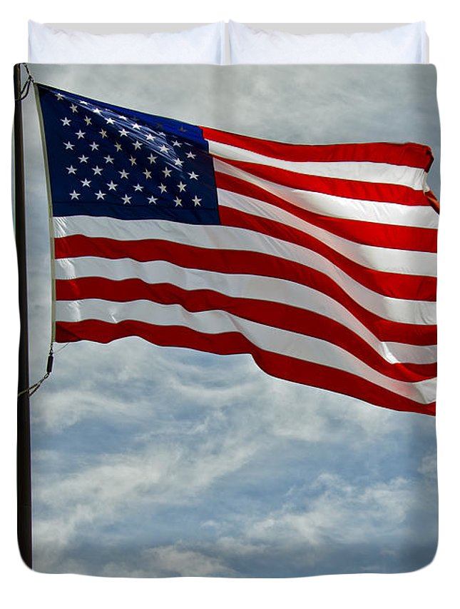 The American Flag Waving In The Wind Duvet Cover