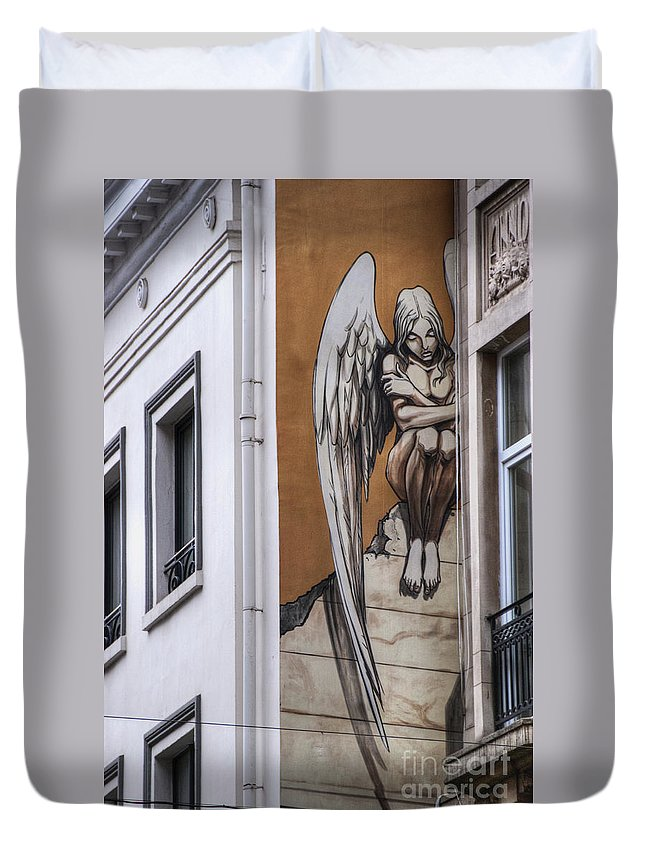 Architectural Feature Duvet Cover featuring the photograph The Angel by Juli Scalzi