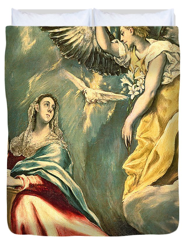 Virgin Duvet Cover featuring the photograph The Annunciation, C.1595-1600 Oil On Canvas by El Greco