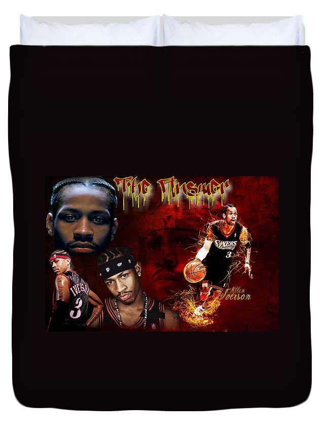Basketball Duvet Cover featuring the digital art The Answer by Edward Cormier Jr