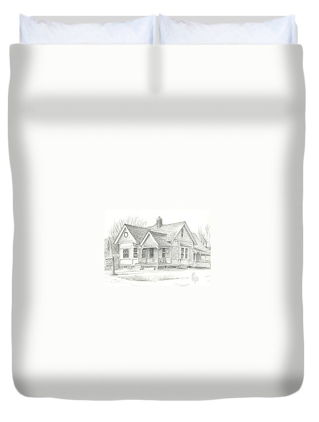 The Antique Shop Duvet Cover featuring the drawing The Antique Shop by Kip DeVore