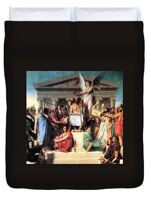 The Apotheosis Of Homer Duvet Cover featuring the digital art The Apotheosis Of Homer by Jean Auguste Dominique Ingres