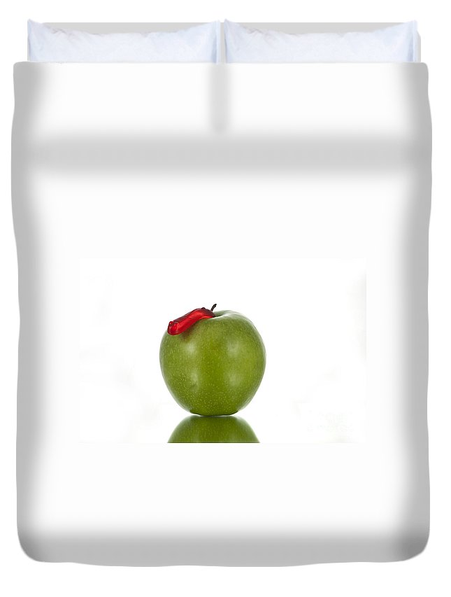 Apple Duvet Cover featuring the photograph The Apple And The Worm by Juli Scalzi