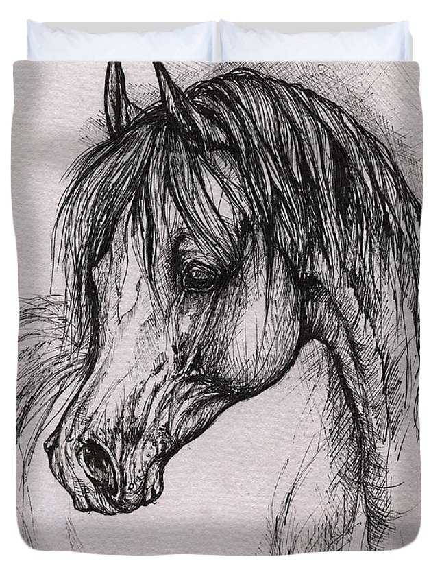 Arabian Horse Duvet Cover featuring the drawing The Arabian Horse With Thick Mane by Angel Ciesniarska