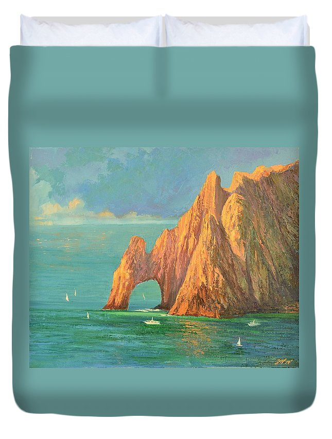 The Arch Of Cabo San Lucas Duvet Cover featuring the painting The Arch Of Cabo San Lucas 2 by Yinguo Huang