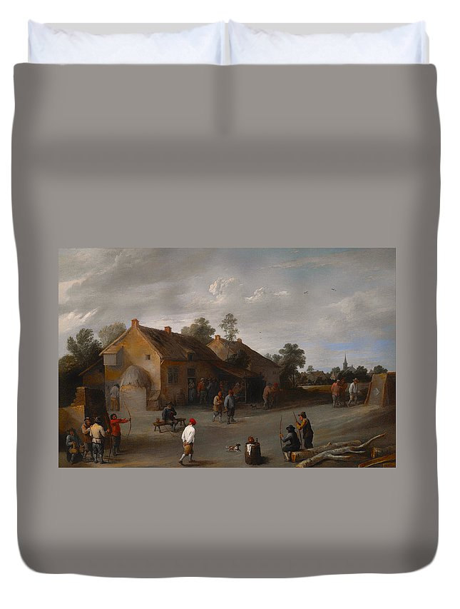 Painting Duvet Cover featuring the painting The Archers by Mountain Dreams