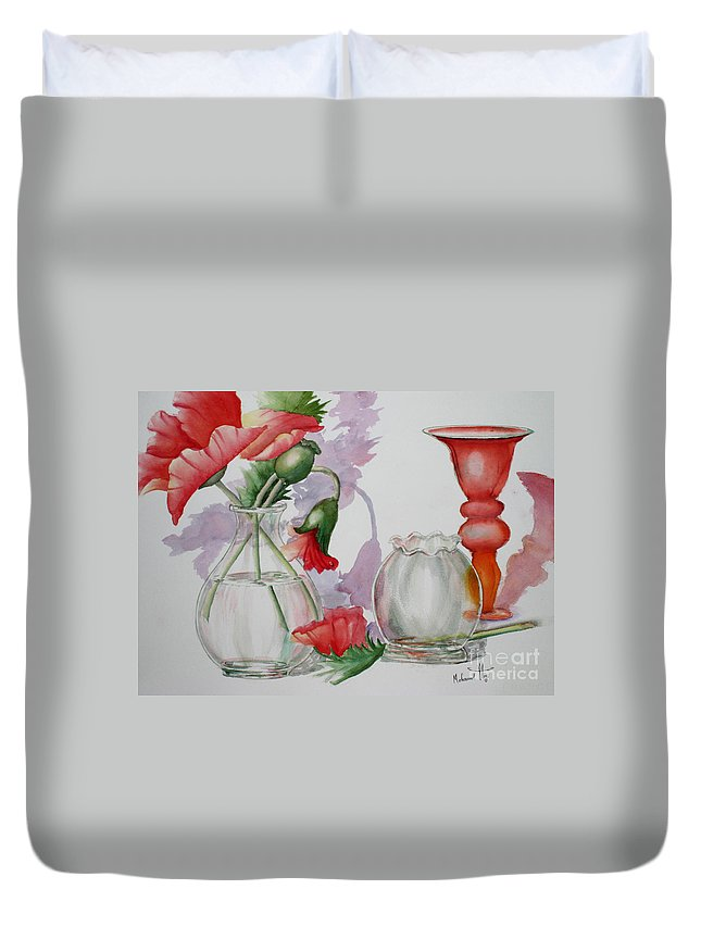 Arrangement Duvet Cover featuring the painting The Arrangement by Mohamed Hirji
