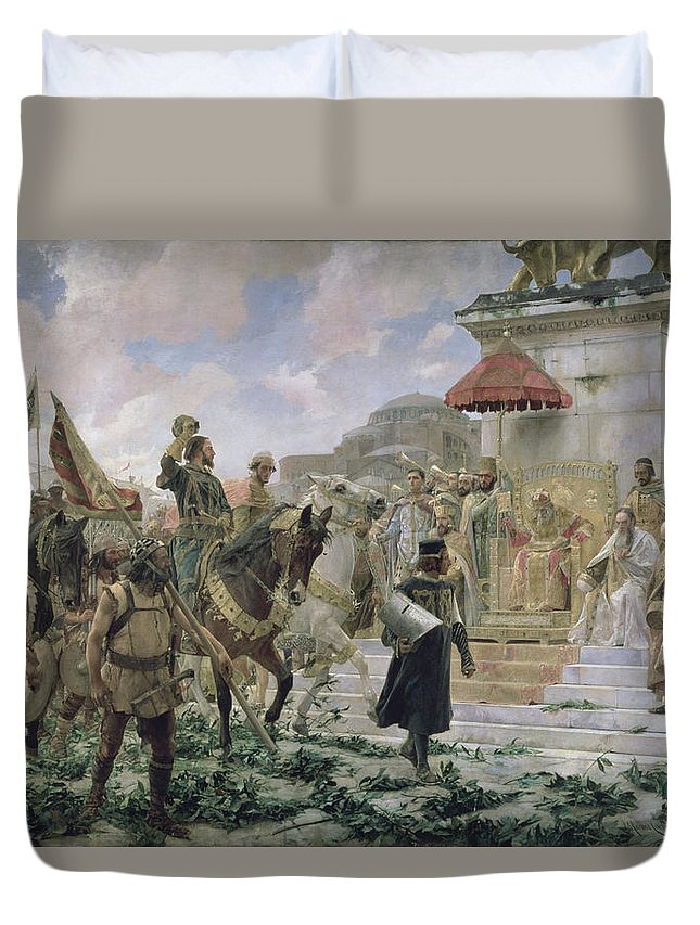 Military Leader Duvet Cover featuring the photograph The Arrival Of Roger De Flor 1280-1307 In Constantinople In 1303 With 8000 Almogavares Serving by Jose Moreno Carbonero