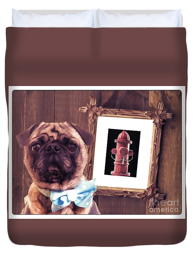 Pug Duvet Cover featuring the photograph The Artist And His Masterpiece by Edward Fielding