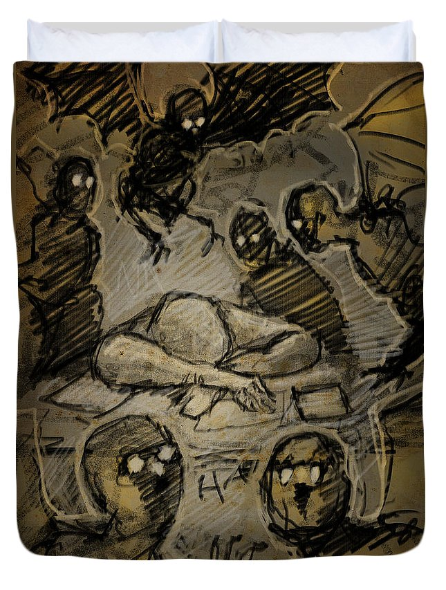 Nightmare Duvet Cover featuring the drawing The Artist's Dream by H James Hoff