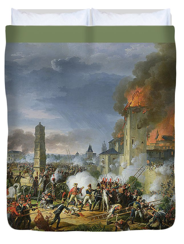 Ladders Duvet Cover featuring the photograph The Attack And Taking Of Ratisbon, 23rd April 1809, 1810 Oil On Canvas by Charles Thevenin