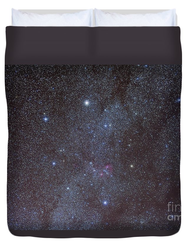 Auriga Duvet Cover featuring the photograph The Auriga Constellation Showing Lanes by Alan Dyer