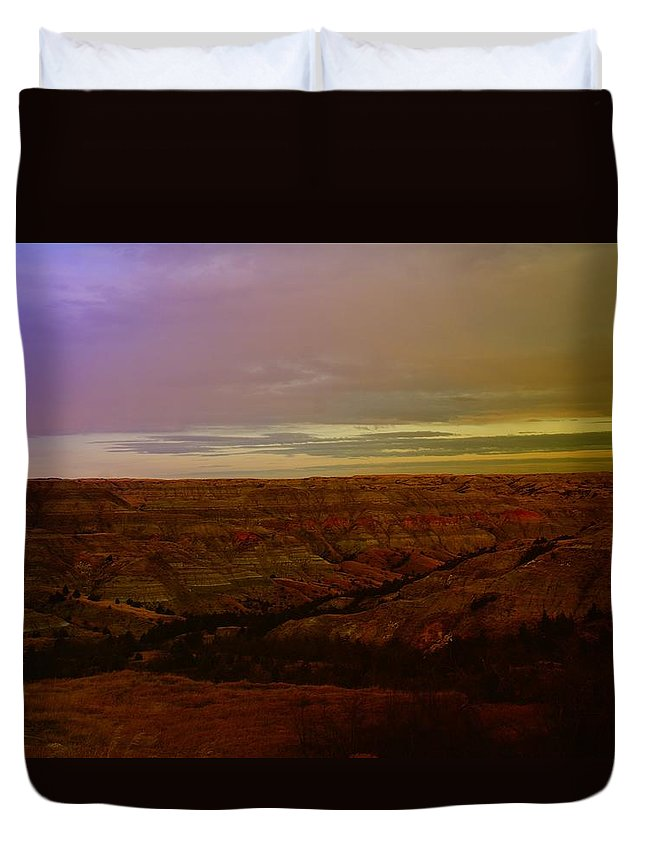 Badlands Duvet Cover featuring the photograph The Badlands by Jeff Swan