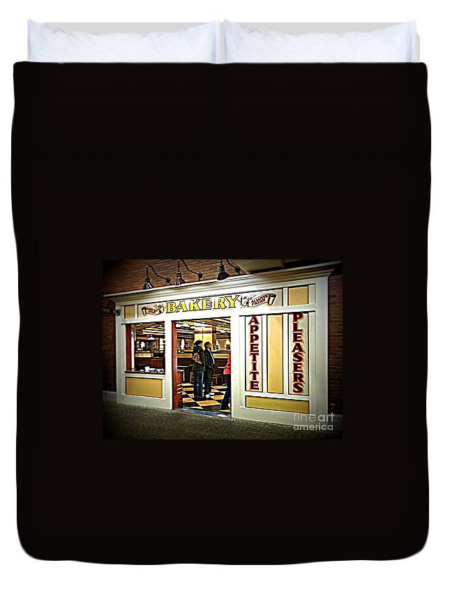 Duvet Cover featuring the photograph The Bakery by Kelly Awad