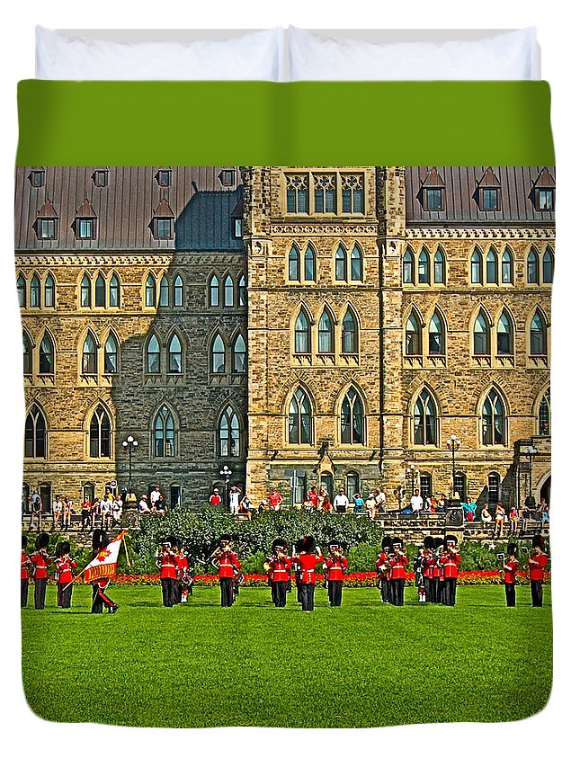 The Band Played On In Front Of Parliament Building In Ottawa Duvet Cover featuring the photograph The Band Played On In Front Of Parliament Building In Ottawa-on by Ruth Hager