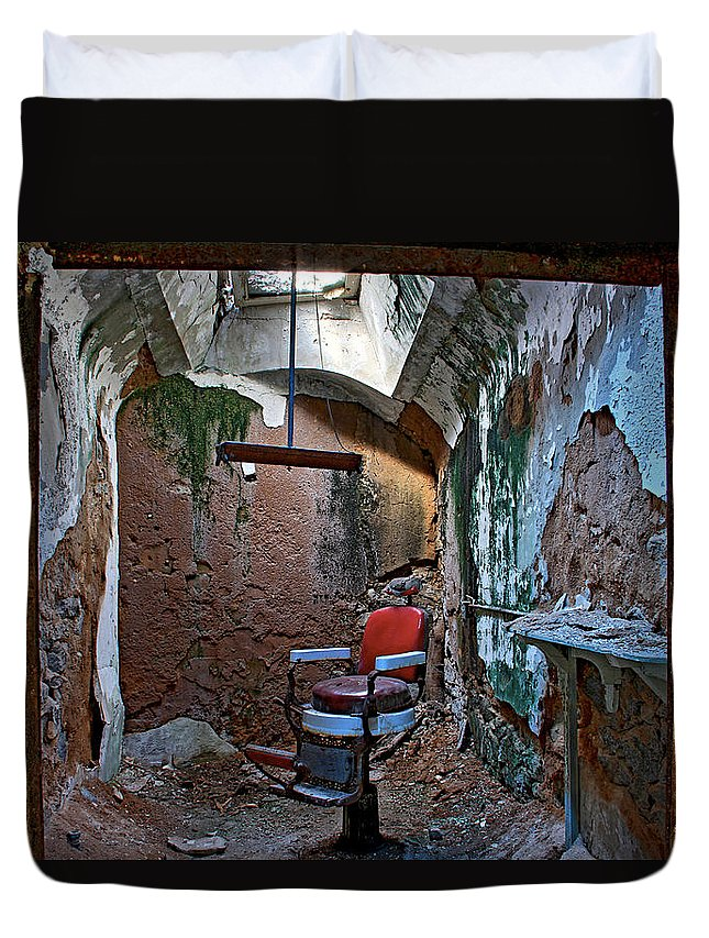 Eastern State Penitentiary Red Barbershop Chair Cell Prison Esp Philadelphia Duvet Cover featuring the photograph The Barbershop Chair by Alice Gipson