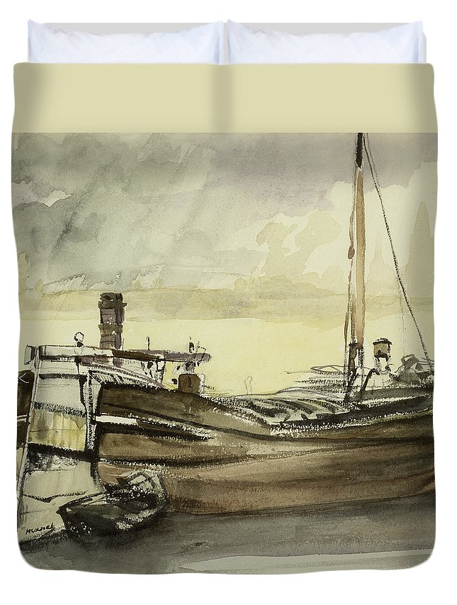 La Peniche; Boat; Ship; Fishing Vessel Duvet Cover featuring the painting The Barge by Edouard Manet