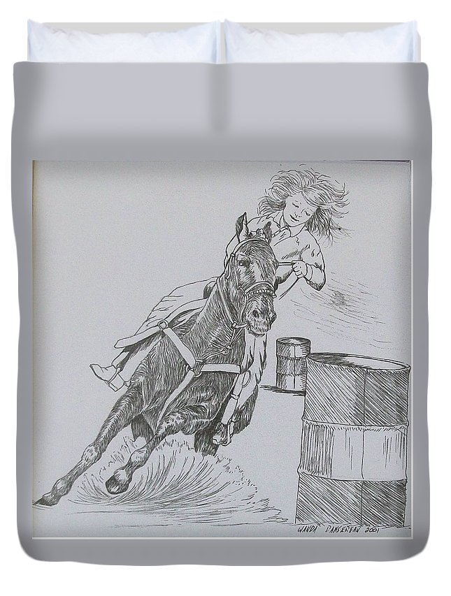 Black And Grey Black Poster Duvet Cover featuring the drawing The Barrel Racer by Wanda Dansereau