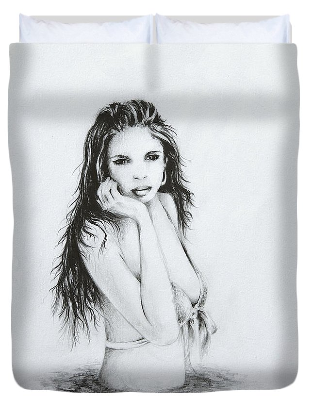 Figure Duvet Cover featuring the drawing the Bather by Rachel Christine Nowicki