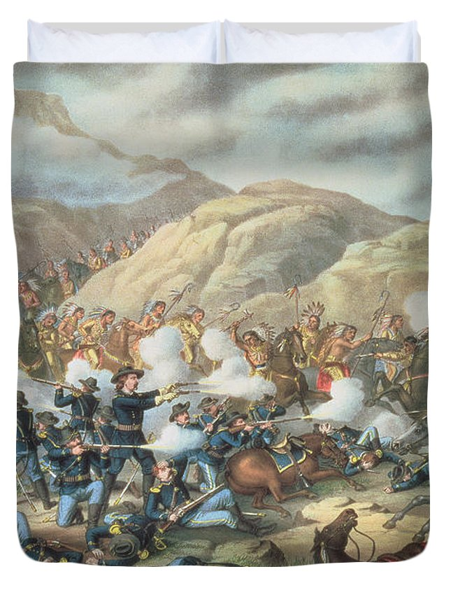 Custer's Last Stand Duvet Cover featuring the painting The Battle Of Little Big Horn, June 25th 1876 by American School