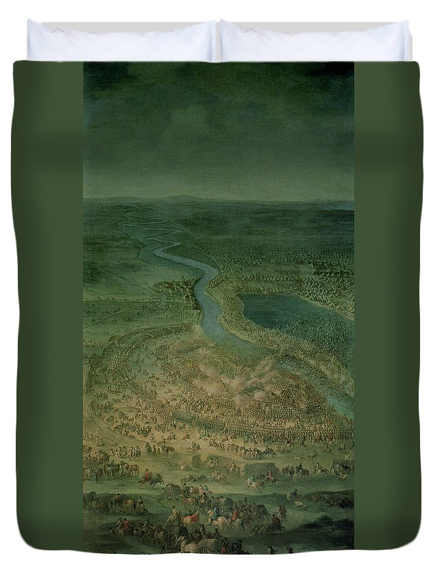 Landscape Duvet Cover featuring the photograph The Battle Of Senta, 11th September, 1697 At Which The Imperial Troops Of The Austrian Empire by Austrian School