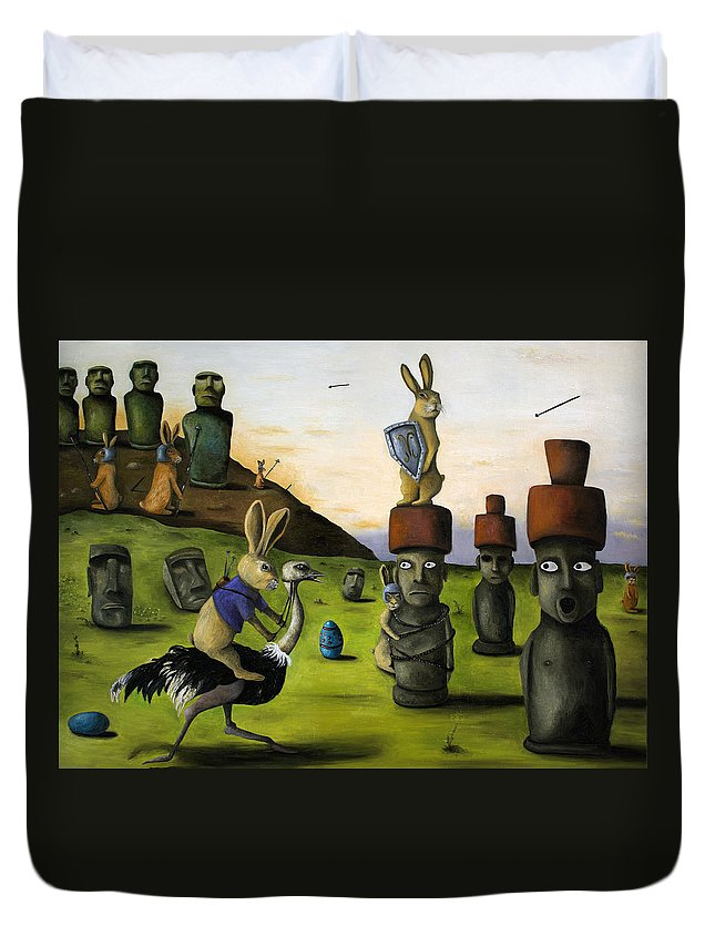Bunny Duvet Cover featuring the painting The Battle Over Easter Island by Leah Saulnier The Painting Maniac