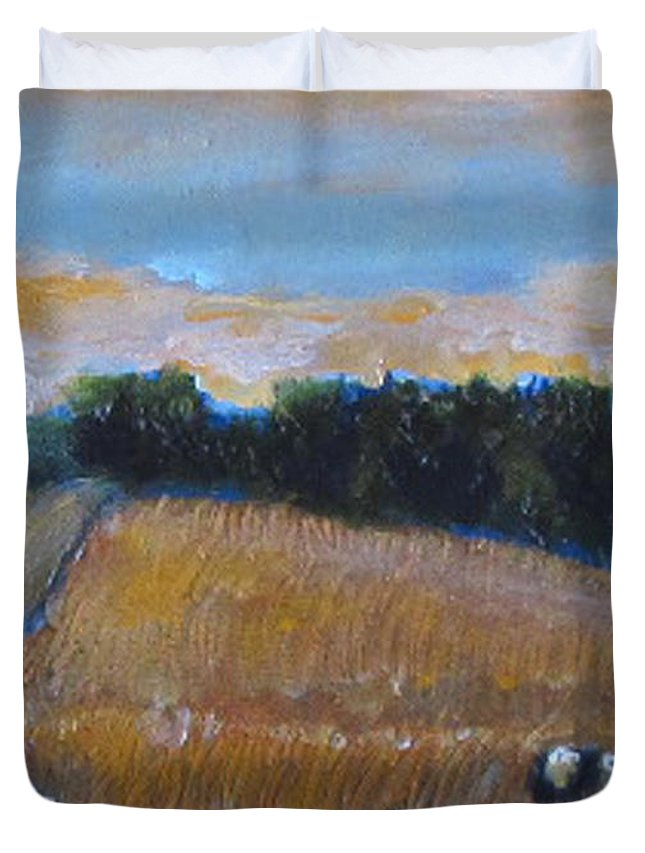 Cow Paintings Duvet Cover featuring the painting The Battlefield by David Zimmerman