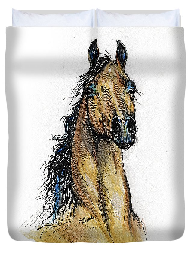 Arab Duvet Cover featuring the painting The Bay Arabian Horse 13 by Angel Ciesniarska